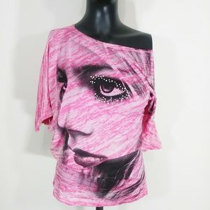 3/$20 Umgee graphic off shoulder pink shirt size L
